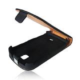Samsung S5570 Galaxy Mini Siyah Kapakl� Siyah Deri K�l�f