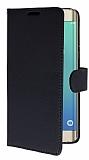 Samsung S6 Edge Plus Cüzdanlı Yan Kapaklı Siyah Deri Kılıf