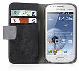 Samsung S7562 / S7560 / S7580 Standl� C�zdanl� Siyah Deri K�l�f