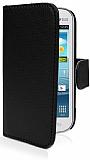 Samsung S7562 / S7560 / S7580 C�zdanl� Yan Kapakl� Siyah Deri K�l�f