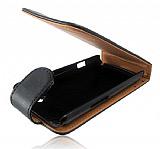 Samsung S8530 Wave 2 Kapakl� Siyah Deri K�l�f