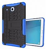Samsung T560 Galaxy Tab E Ultra Süper Koruma Standlı Mavi Kılıf