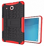 Samsung T560 Galaxy Tab E Ultra Süper Koruma Standlı Kırmızı Kılıf