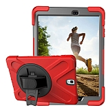 Samsung T820 Galaxy Tab S3 9.7 Standlı Kırmızı Ultra Koruma Kılıf