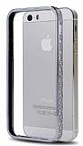 Shengo iPhone 5 / 5S Ta�l� Metal Bumper �er�eve Silver K�l�f