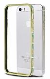 Shengo iPhone SE / 5 / 5S Mavi Taşlı Metal Bumper Çerçeve Gold Kılıf