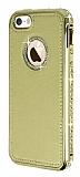 Shengo iPhone SE / 5 / 5S Taşlı Metal Kenarlı Gold Deri Kılıf
