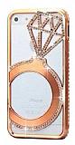 Shengo iPhone 5 / 5S Tekta� Ta�l� Metal Rose Gold K�l�f
