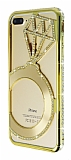 Shengo iPhone 7 Plus Tektaş Taşlı Metal Gold Kılıf