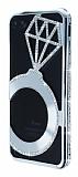 Shengo iPhone 7 Plus Tektaş Taşlı Metal Silver Kılıf