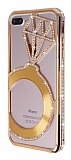 Shengo iPhone 7 Plus Tektaş Taşlı Metal Rose Gold Kılıf