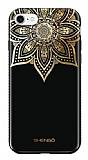 Shengo iPhone 7 Silikon Kenarlı Taşlı Çiçek Siyah Rubber Kılıf