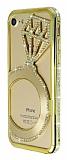Shengo iPhone 7 Tektaş Taşlı Metal Gold Kılıf