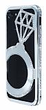 Shengo iPhone 7 Tektaş Taşlı Metal Silver Kılıf