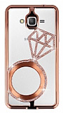 Shengo Samsung Galaxy Grand Prime / Prime Plus Tektaş Taşlı Metal Rose Gold Kılıf