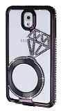 Shengo Samsung N9000 Galaxy Note 3 Tektaş Taşlı Metal Dark Silver Kılıf