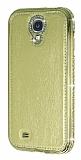 Shengo Samsung i9500 Galaxy S4 Ta�l� Metal Kenarl� Gold Deri K�l�f