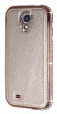 Shengo Samsung i9500 Galaxy S4 Ta�l� Metal Kenarl� Rose Gold Deri K�l�f
