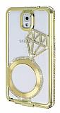 Shengo Samsung N9000 Galaxy Note 3 Tektaş Taşlı Metal Gold Kılıf