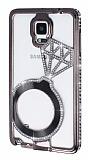 Shengo Samsung N9100 Galaxy Note 4 Tektaş Taşlı Metal Dark Silver Kılıf