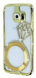 Shengo Samsung Galaxy S6 Edge Tektaş Taşlı Metal Gold Kılıf