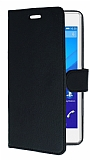 Sony Xperia C4 C�zdanl� Yan Kapakl� Siyah Deri K�l�f