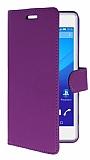 Sony Xperia C4 Cüzdanlı Yan Kapaklı Mor Deri Kılıf