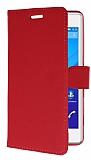 Sony Xperia C4 C�zdanl� Yan Kapakl� K�rm�z� Deri K�l�f