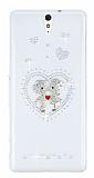 Sony Xperia C5 Ultra Love Taşlı Şeffaf Rubber Kılıf