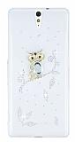 Sony Xperia C5 Ultra Baykuş Taşlı Şeffaf Rubber Kılıf