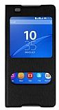 Sony Xperia C5 Ultra Pencereli İnce Kapaklı Siyah Kılıf