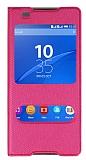 Sony Xperia C5 Ultra Pencereli İnce Kapaklı Pembe Kılıf