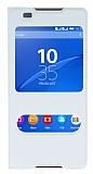 Sony Xperia C5 Ultra Pencereli İnce Kapaklı Beyaz Kılıf
