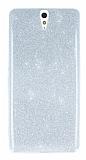 Sony Xperia C5 Ultra Simli Silver Silikon Kılıf