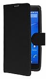 Sony Xperia E4g Cüzdanlı Yan Kapaklı Siyah Deri Kılıf