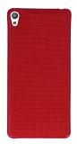 Sony Xperia E5 Kumaş Görünümlü Kırmızı Silikon Kılıf
