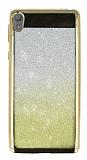 Sony Xperia E5 Simli Parlak Gold Silikon Kılıf