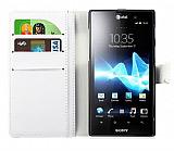 Sony Xperia ion LT28i C�zdanl� Standl� Beyaz Deri K�l�f