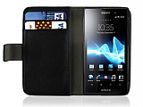 Sony Xperia Ion LT28i Standl� C�zdanl� Siyah Deri K�l�f