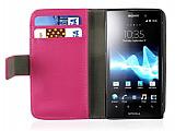 Sony Xperia Ion LT28i Standl� C�zdanl� Pembe Deri K�l�f