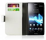 Sony Xperia Ion LT28i Standl� C�zdanl� Beyaz Deri K�l�f
