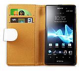 Sony Xperia ion LT28i Yan C�zdanl� Beyaz K�l�f