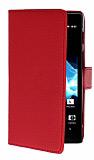 Sony Xperia ion LT28i Yan C�zdanl� K�rm�z� K�l�f
