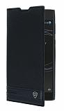 Sony Xperia L1 Gizli Mıknatıslı Yan Kapaklı Siyah Deri Kılıf
