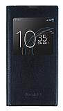 Sony Xperia L1 Pencereli İnce Kapaklı Siyah Kılıf