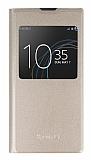 Sony Xperia L1 Pencereli İnce Kapaklı Gold Kılıf
