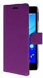 Sony Xperia M4 Aqua Cüzdanlı Yan Kapaklı Mor Deri Kılıf