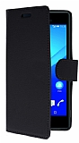 Sony Xperia M4 Aqua Cüzdanlı Yan Kapaklı Siyah Deri Kılıf