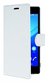 Sony Xperia M4 Aqua Cüzdanlı Yan Kapaklı Beyaz Deri Kılıf