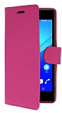 Sony Xperia M4 Aqua Cüzdanlı Yan Kapaklı Pembe Deri Kılıf